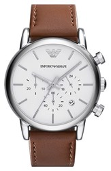 Men's Emporio Armani Chronograph Leather Strap Watch 41Mm