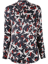 Julien David Pixel Palm Tree Print Shirt Black