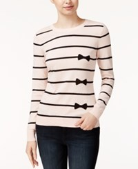 Maison Jules Striped Bow Print Sweater Only At Macy's Pearl Blush Combo