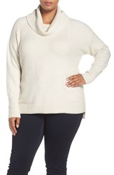 Caslonr Plus Size Women's Caslon Rib Detail Relaxed Turtleneck Sweater Heather Oatmeal