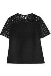 Jason Wu Felted Wool Blend And Lace Top Black