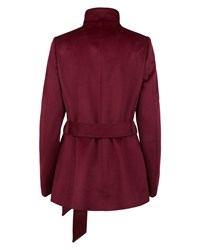 Jaeger Wool Funnel Neck Coat Red