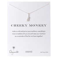 Dogeared Sterling Silver Cheeky Monkey Pendant Necklace Silver