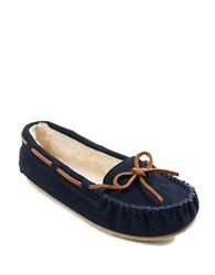Minnetonka Cally Suede And Faux Fur Lined Moccasins Dark Navy Blue