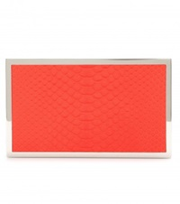 Victoria Beckham Hard Metal Python Leather Box Clutch Red