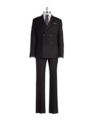 William Rast Double Breasted Pinstripe Suit Black