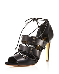 Rupert Sanderson Luscon Lace Up High Heel Sandals Black