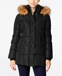 Tommy Hilfiger Faux Fur Trim Hooded Quilted Puffer Coat Only At Macy's Black