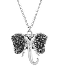 Lucky Brand Semi Precious Rock Crystal Elephant Pendant Necklace Silver