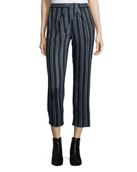 Thakoon Addition Cross Front Striped Ankle Pants