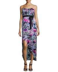 Cynthia Vincent Strapless '70S Midi Dress Wave Print