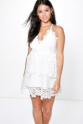Boohoo Grace Crochet Strappy Peplum Dress White