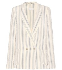 Closed Striped Cotton Blazer White