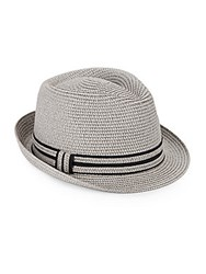 Saks Fifth Avenue Paper Straw Fedora Light Grey