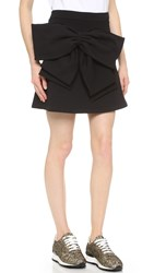 Anna K Fleece Miniskirt With Bow Black