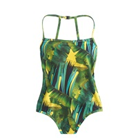J.Crew Jungle Print Racerback One Piece Swimsuit Green Yellow Multi