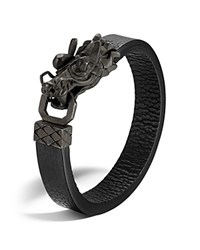 John Hardy Men's Naga Silver Dragon Head Bracelet With Black Finish On Black Leather Strap