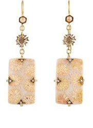 Cathy Waterman Women's Fossilized Coral Drop Earrings Colorless