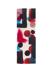 Franco Ferrari 'Grido' Hand Painted Abstract Print Wool Scarf Multi Colour