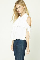Forever 21 Contemporary Open Shoulder Top Ivory