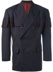 Jean Paul Gaultier Vintage Fringed Tailored Jacket Blue