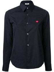 Comme Des Garcons Play Embroidered Logo Shirt Black