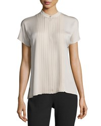 Max Mara Nigra Pleated Short Sleeve Blouse Beige