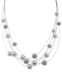 Honora Style Cultured Freshwater Pearl And Crystal 6 Row Necklace In Sterling Silver 7Mm White