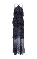 Cynthia Rowley Silk Tiered Maxi Dress Black