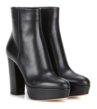 Gianvito Rossi Temple Leather Platform Ankle Boots Black