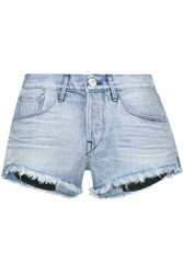 3X1 Wm5 Cut Off Frayed Denim Shorts Light Denim