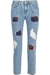 Steve J And Yoni P Distressed High Rise Straight Leg Jeans Mid Denim