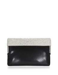 Nina Alena Faux Leather Convertible Clutch Black Silver