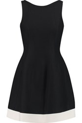Halston Heritage Two Tone Cotton And Silk Blend Mini Dress Black