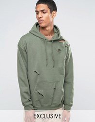 Reclaimed Vintage Oversized Hoodie With Distressing Khaki Green