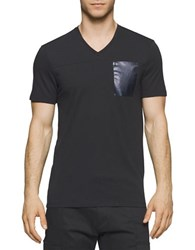 Calvin Klein Solid Foil Pocket V Neck Tee Black