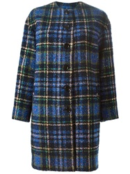 Love Moschino Single Breasted Plaid Coat Blue