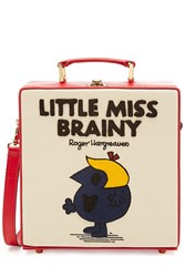Olympia Le Tan Little Miss Brainy Embroidered Cotton Shoulder Bag Multicolor