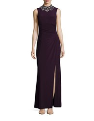 Vince Camuto Ruched Embellished Sleeveless Gown