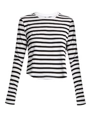 The Upside Murano Striped Cotton Jersey Cropped Top Black White