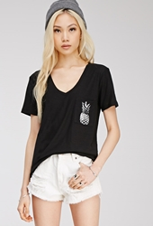 Forever 21 Pineapple Graphic Pocket Tee Black White