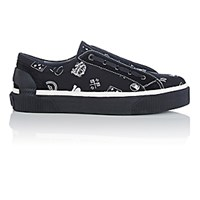 Lanvin Men's 10 Pattern Jacquard Mid Top Sneakers Black White Blue Black White Blue