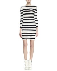 Alexander Mcqueen Long Sleeve Striped Lace Bandage Dress Size S Ivory Black