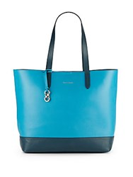 Cole Haan Palermo Two Tone Leather Tote Sea Blue