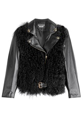 Boutique Moschino Leather Jacket With Sheepskin Black