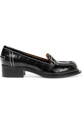 Acne Studios Penny Croc Effect Leather Loafers Black