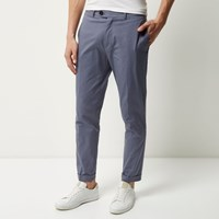 River Island Mens Grey Cropped Skinny Trousers