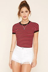 Forever 21 Striped Ringer Tee Red Black