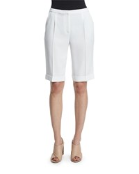Elie Tahari City Slim Leg Bermuda Shorts Optic White Women's