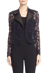 Yigal Azrouel Women's Guipure Lace And Lambskin Leather Moto Jacket
